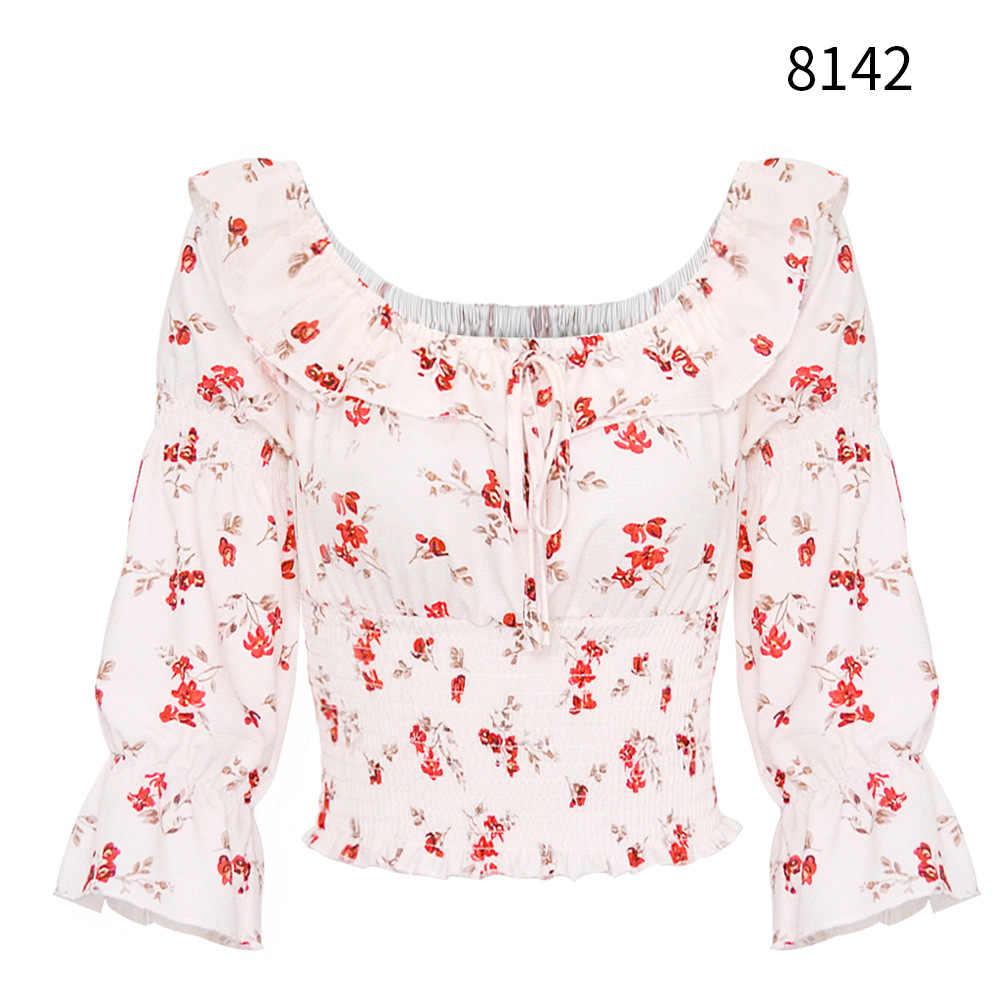 Bluzka damska slash kołnierz plisowana drukowane z krótkim rękawem lato wytrzeć biust blusas femininas vestidos HJY8142