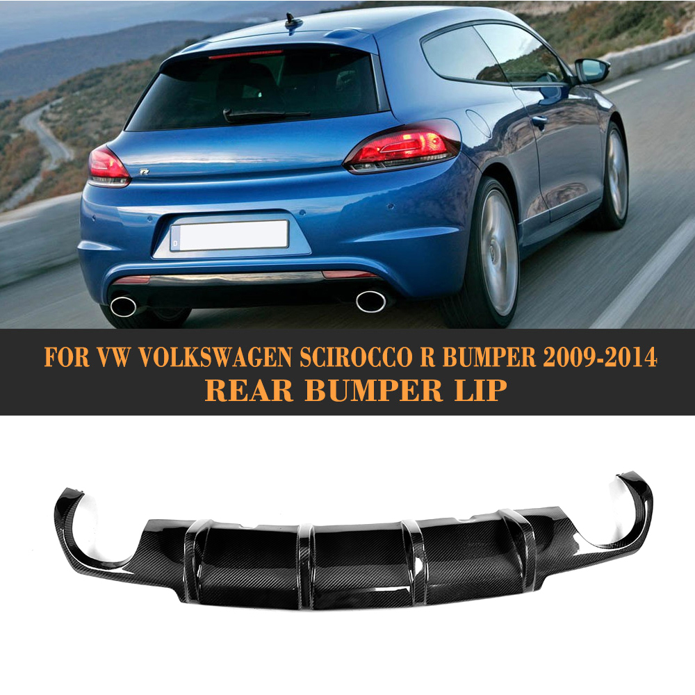 carbon fiber car rear lip spoiler diffuser for Volkswagen VW scirocco R R20 Bumper 2009 - 2014 Black FRP dual exhaust one outlet