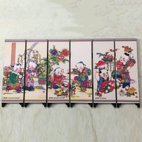 High Quality Durable 1 Pc Retro Chinese Style Vintage Small Mini Folding Panel Screen Room Divider Wooden