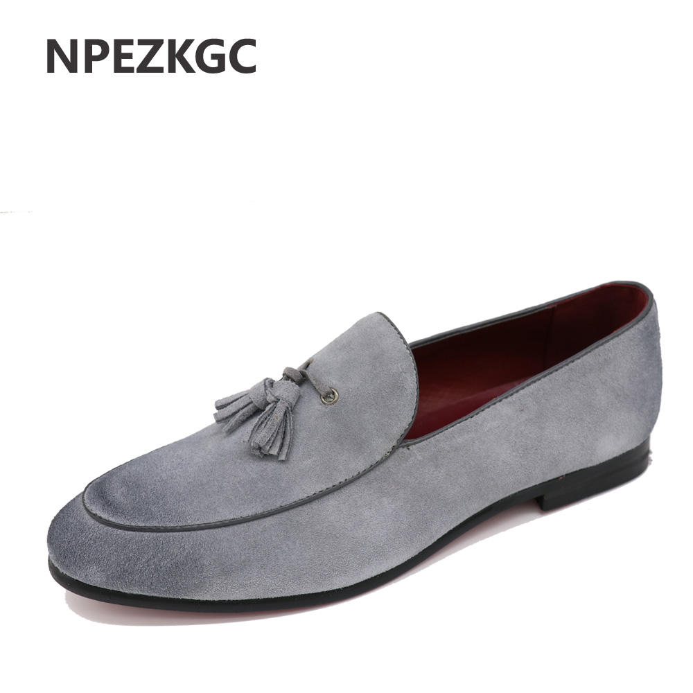NPEZKGC New Arrival Casual Mens Shoes Suede Leather Men Loafers Moccasins Fashion Low Slip On Men Flats Shoes oxfords Shoes suede slip on mens shoes