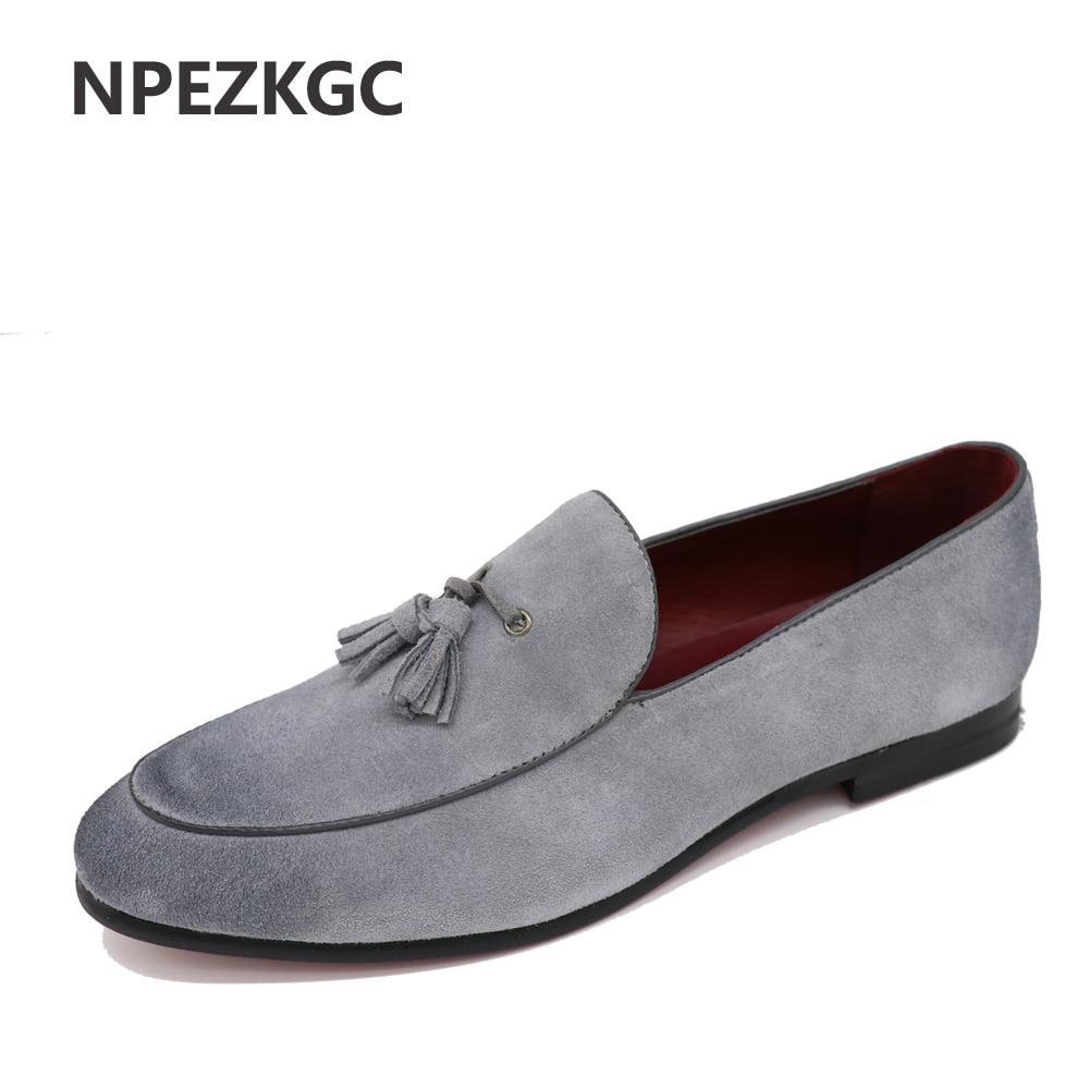 NPEZKGC New Arrival Casual Mens Shoes Suede Leather Men Loafers Moccasins Fashion Low Slip On Men Flats Shoes oxfords Shoes