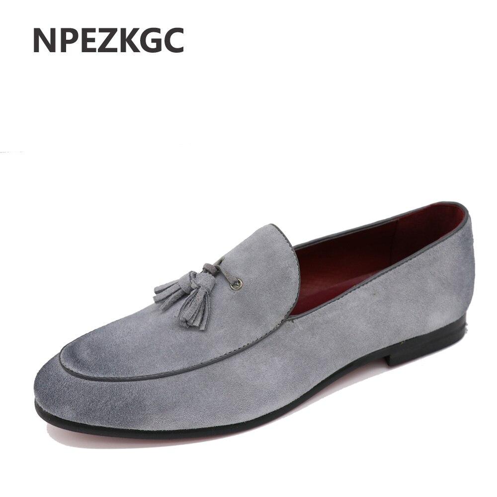 NPEZKGC nueva llegada Casual Mens zapatos Suede hombres de cuero mocasines moda bajo deslizamiento en hombres zapatos planos oxfords zapatos