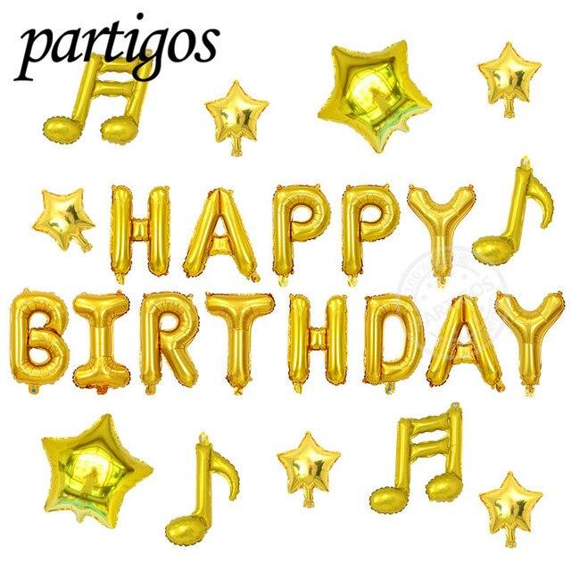 24 Stks Partij 16 Inch Gelukkige Verjaardag Brief Muziek Opmerking