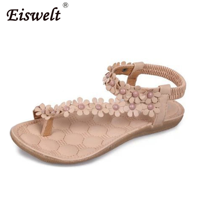 EISWELT Fashion Bohemia Women's Shoes Flower Sandalias Summer Women Sandals Femininas Casual Thong Flats Shoes#ZQS007 summer sandalias mujer women sandals bohemia shoes beach sandalias femininas casual thong flats sapato feminino gold sliver