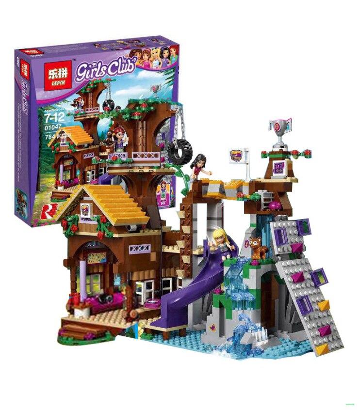 01047 модель здания совместимы с LEGO City девушки друг 41122 Приключения лагерь Tree House 739 шт. 3D блоки игрушки