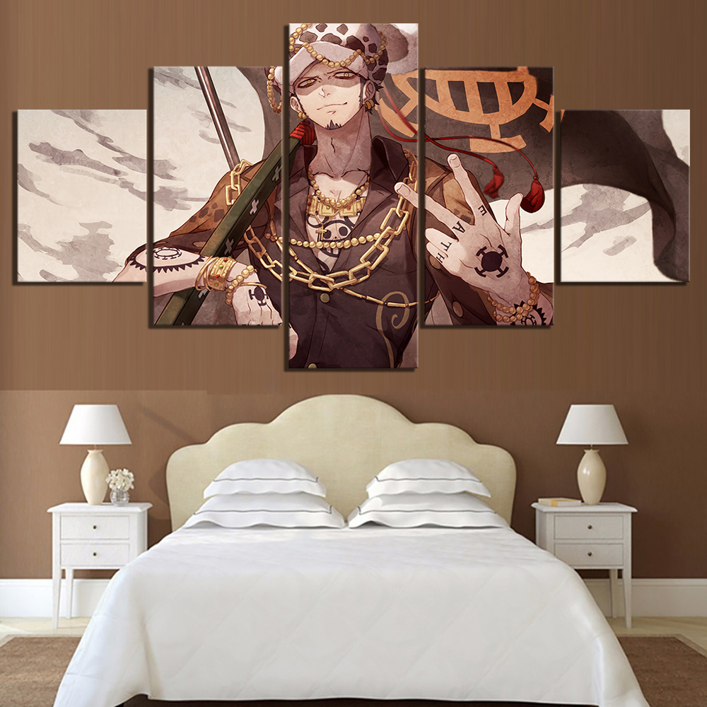 5 Panels Trafalgar Law One Piece Anime Poster Artwork Canvas Art Wall Paintings for Home Decor 1