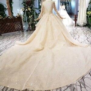 Image 3 - HTL627 luxury wedding dresses long sleeve o neck heavy handmake bead wedding gowns 2020 keyhole back vestido de novia con manga