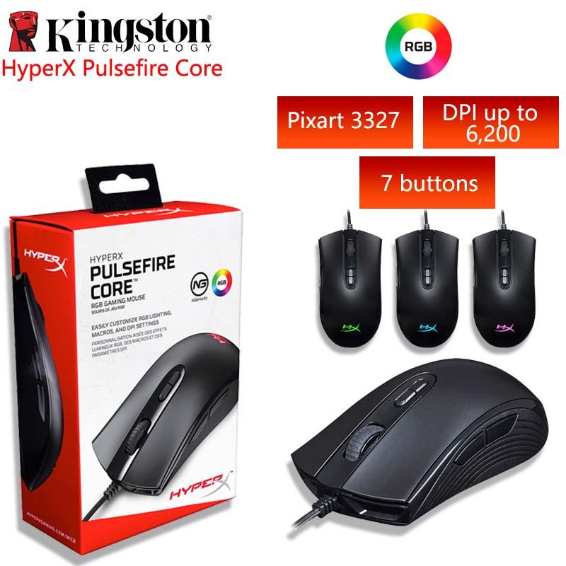 Souris de jeu Kingston HyperX Pulsefire Core RGB jusqu'à 6200 DPI souris légère professionnelle pour PC ordinateur portable souris filaire USB