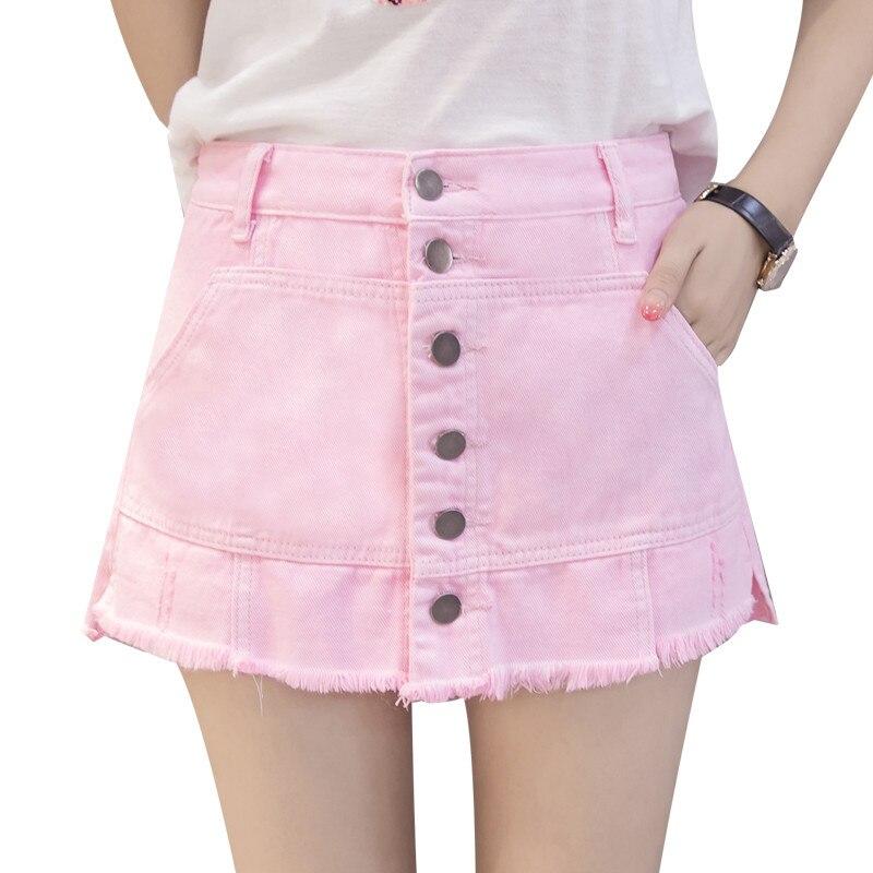 Summer Pink And White Hot Denim Shorts Beach Cute High Waist Single-breasted Women jeans  Kawaii Girls Women's Short Jeans