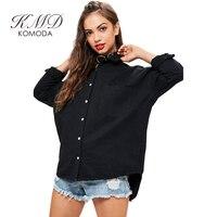 KMD KOMODA Women S Fashion Coat Casual Long Sleeve Jacket Letter Print Back Drop Shoulder Button