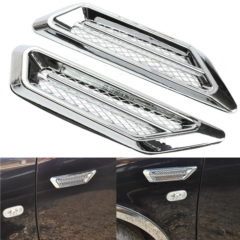 Newest 1 Pair Chrome Plated Car SUV Side Air Flow Fender Vent Grills Sticker Auto Left & Right Decoration Stickers For Benz BMW 2017 chromed abs plastic car side air vent fender cover sticker for toyota camry solara celica celsior century corolla fielder