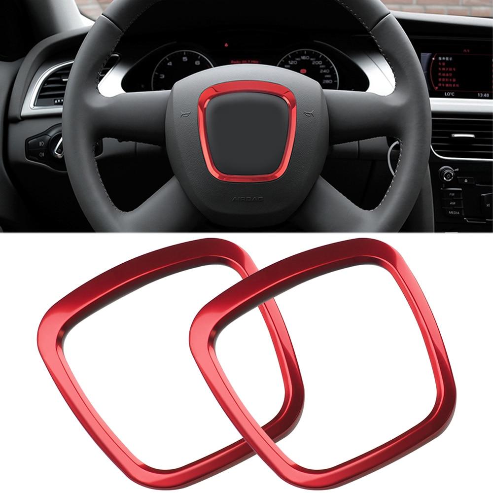 Red Steering Wheel Emblem Frame Ring Sticker Chrome Car Interior