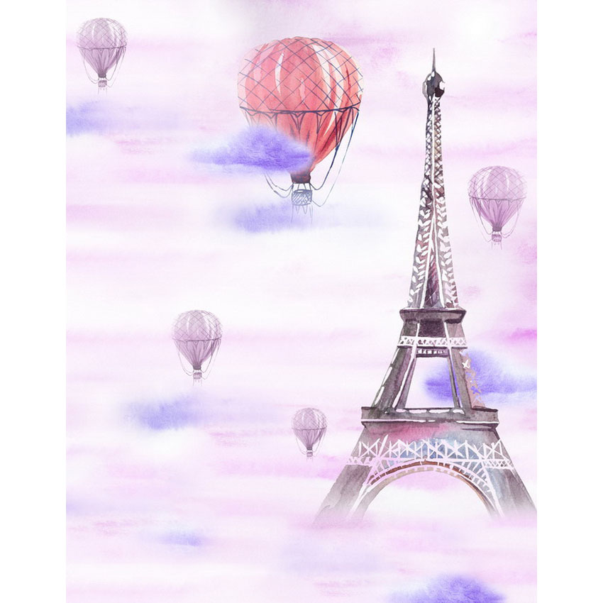 Customize washable wrinkle resistant print Eiffel tower photo studio backgrounds for birthday photography backdrops S-2308-A customize washable wrinkle free baby clock pink wall photography backdrops for newborn photo studio portrait backgrounds s 956