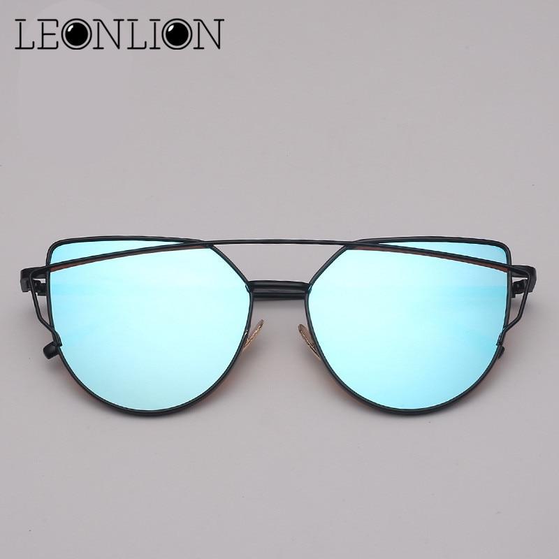 LeonLion 2018 Mirror Cateye Sunglasses Women Vintage Metal Reflective Glasses Shopping Brand Designer Lunette De Soleil Femme