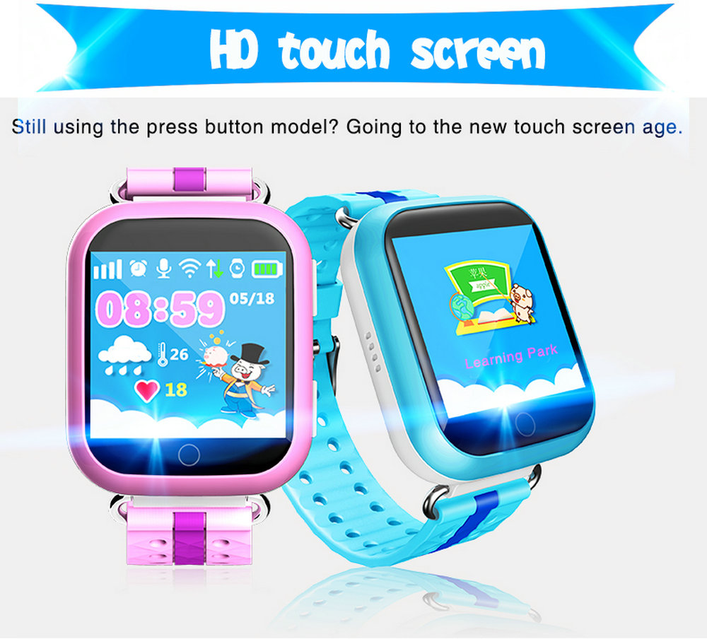 GPS Smart Watch SOS Call Location Device Tracker Smart Baby Watch 1 54inch  Touch Screen for Safe pink