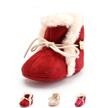 3 Colors New Cozy Baby Shoes Winter Baby Girl Tie Up Booties Newborn Toddlers Kid Cozy Crib Shoes