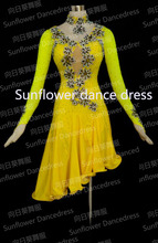 Latin dancewear women ballroom Dance costume Girls Salsa Dress Tango Samba Rumba Chacha Dress  Latin Dress Sunflower Dance Dress