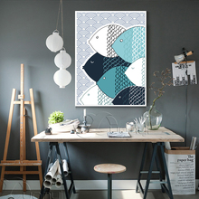 COLORFULBOY Modern Abstract Fish Canvas Painting Geometry Wall Art Posters And Prints Pictures For Kids Room Home Decor