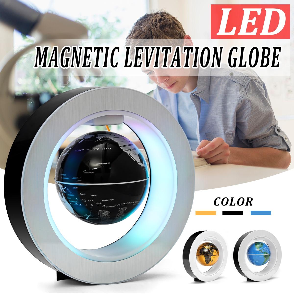 O shape Black Blue LED World Map Decor Home Electronic Magnetic Levitation Floating Globe Antigravity LED Light Gift Decoration