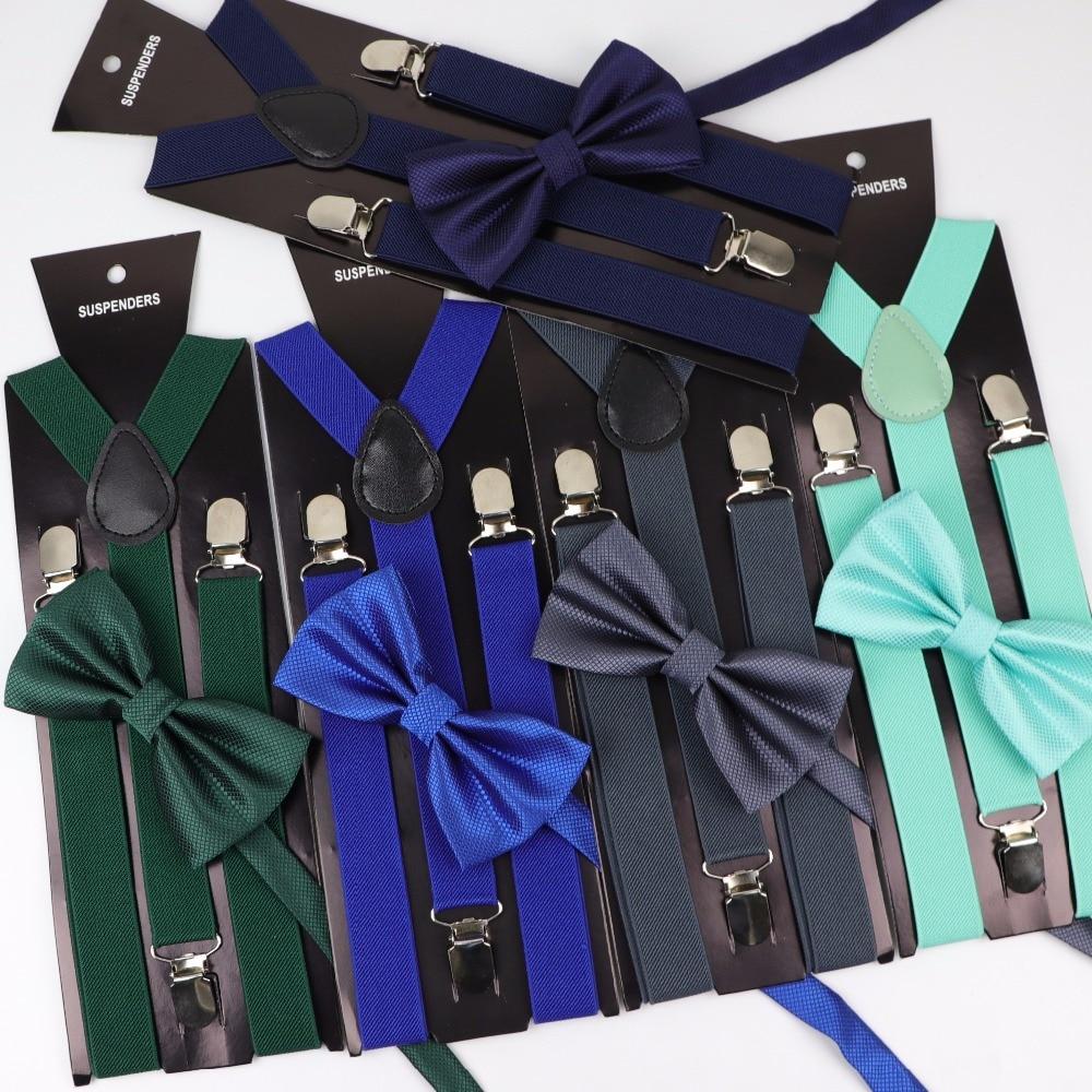 Soild Color Man Polyester Belt Bow Tie Set Woman Men's Suspenders Butterfly Clip-on Y-Back Braces Elastic Women Adjustable