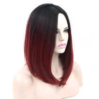 Soowee Synthetic Hair Black To Burgundy Ombre Hair Short Bob Wigs Straight Party Hair Grey Cosplay Wig for Women