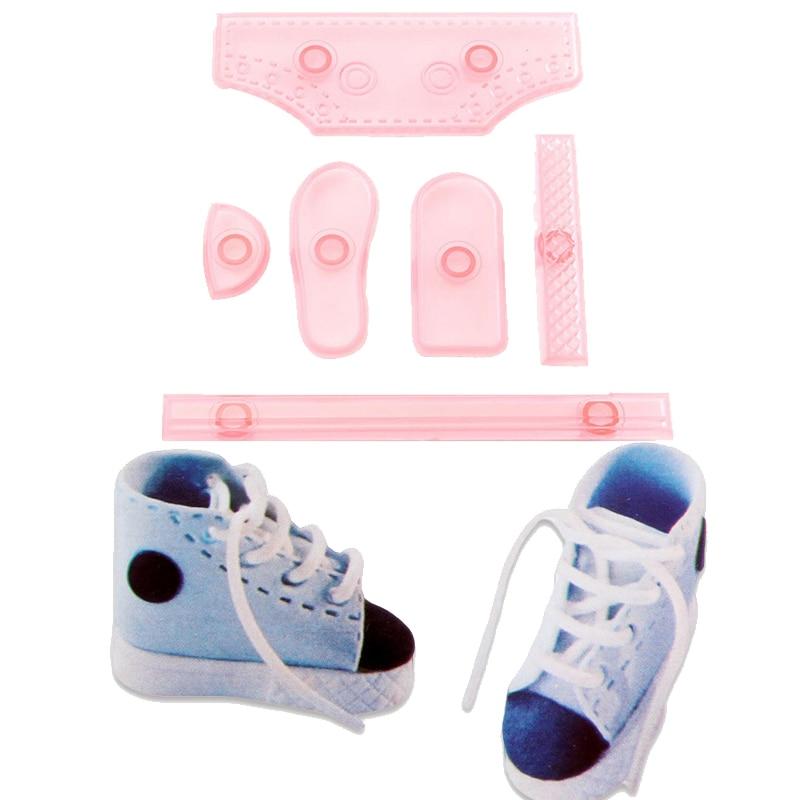 6PCS/SET Baby Shoe Sneaker Shape DIY Cake Mold High-top Shoes Confectionery  Cut Decorating Plastic Fondant Mold Baking Cutter