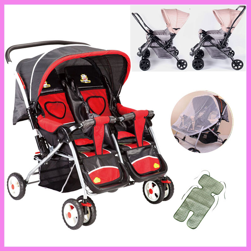 Twins Baby Stroller Folding Reverse Push Handle Double Stroller for Twins Infant Baby Carriage Can Sit Lie Travel System Pram hot sell twins stroller folding travel stroller baby car for two babies trolley china push chair portable to use