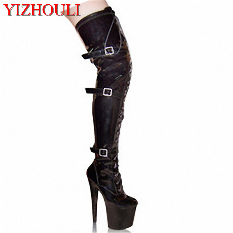 20cm high-heeled shoes platform front buckle strap tall boots round toe boots ladies' 6 inch womens boots Sexy Thigh High Boots 20cm pole dancing sexy ultra high knee high boots with pure color sexy dancer high heeled lap dancing shoes