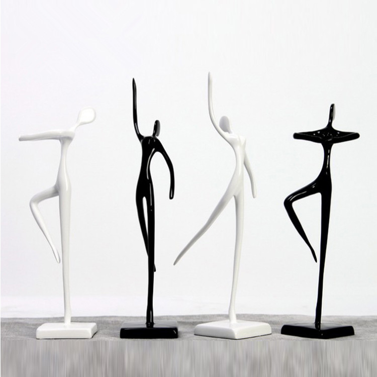 Minimalist modern black and white creative dancers ornaments abstract art resin crafts living room study room home decorations
