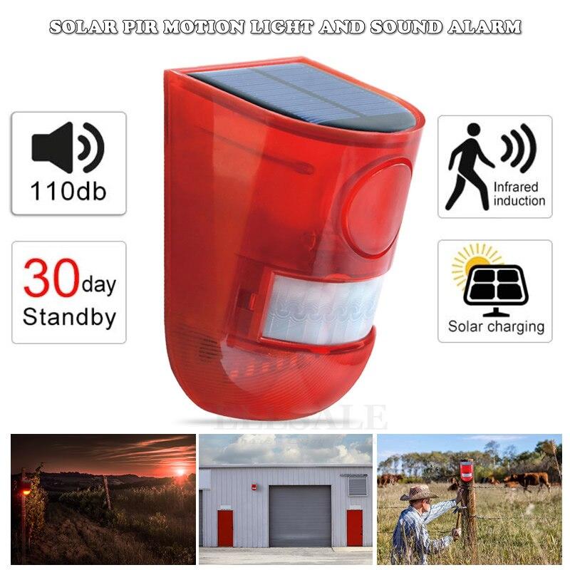 Alimentado por energía Solar sensor detector de movimientos por infrarrojos sirena estroboscópica sistema de alarma impermeable 110dB fuerte para casa Patio de seguridad al aire libre