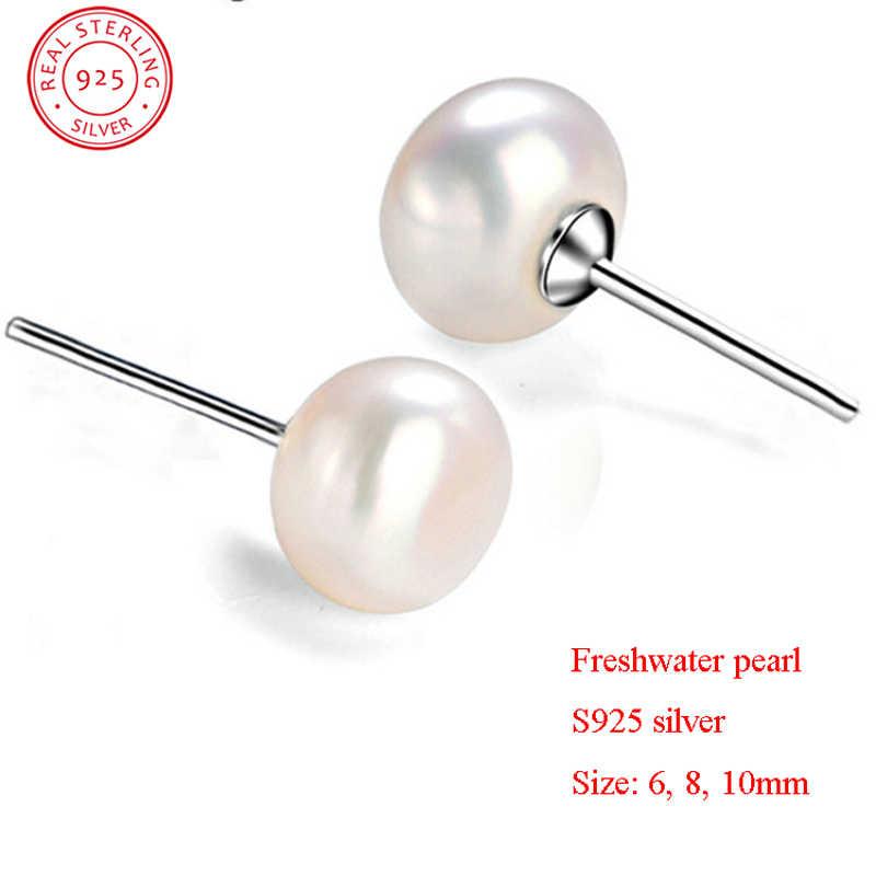 แฟชั่นผู้หญิงไข่มุกธรรมชาติต่างหู S925 Sterling Silver Oblate Ear Stud ต่างหูสำหรับเครื่องประดับคริสต์มาสของขวัญ