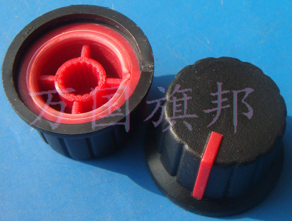 Free Delivery.Potentiometer knob environmentally friendly plastic 15 mm in diameter 24 mm black red dot