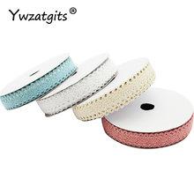 Ywzatgits 2 jardas/lote fita adesiva do laço tecido de algodão adesivo 15mm diy scrapbook artesanato acessórios costura yi1008
