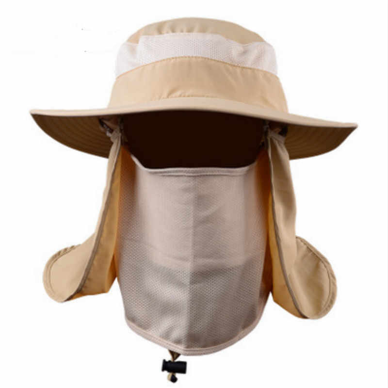 8ec1363e9b6 ... Which in shower Women Men Wide Brim Camouflage Bucket Hat Face Neck  Protection Fisherman Fishing Caps ...