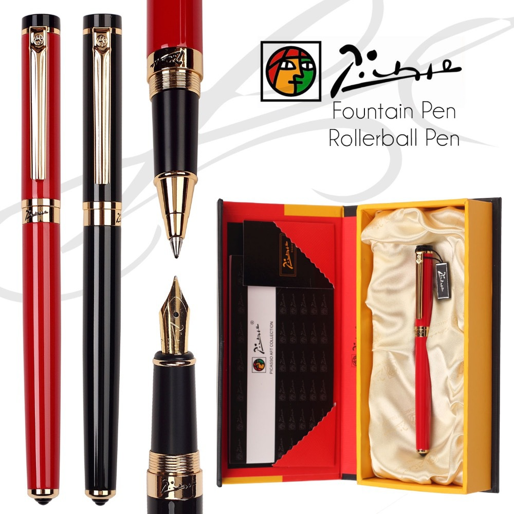 Picasso 908 Fountain Pen F Iridium Nib or Rollerball Pen M Point Black / Red NIB Original box Free Shipping