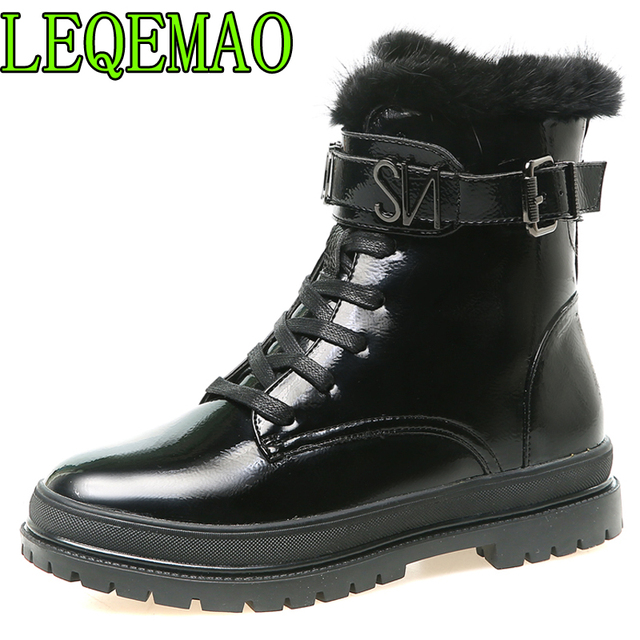 New 2018 Patent Leather Women Boots Lace Up Martin Boots Women Ankle Fur Boots Brand Winter warm Women Shoes