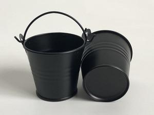Image 2 - 100 יח\חבילה D5.5xH5CM מתכת בשרניים סירים/חמוד שחור סוכריות box/ברזל דליים/משתלת סירים/פח דליים