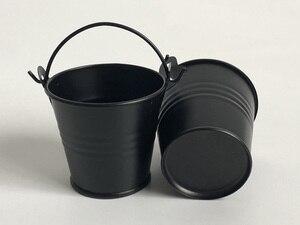 Image 2 - 100 ピース/ロット D5.5xH5CM 金属多肉植物ポット/かわいい黒キャンディーボックス/鉄バケット/保育園ポット/錫バケツ