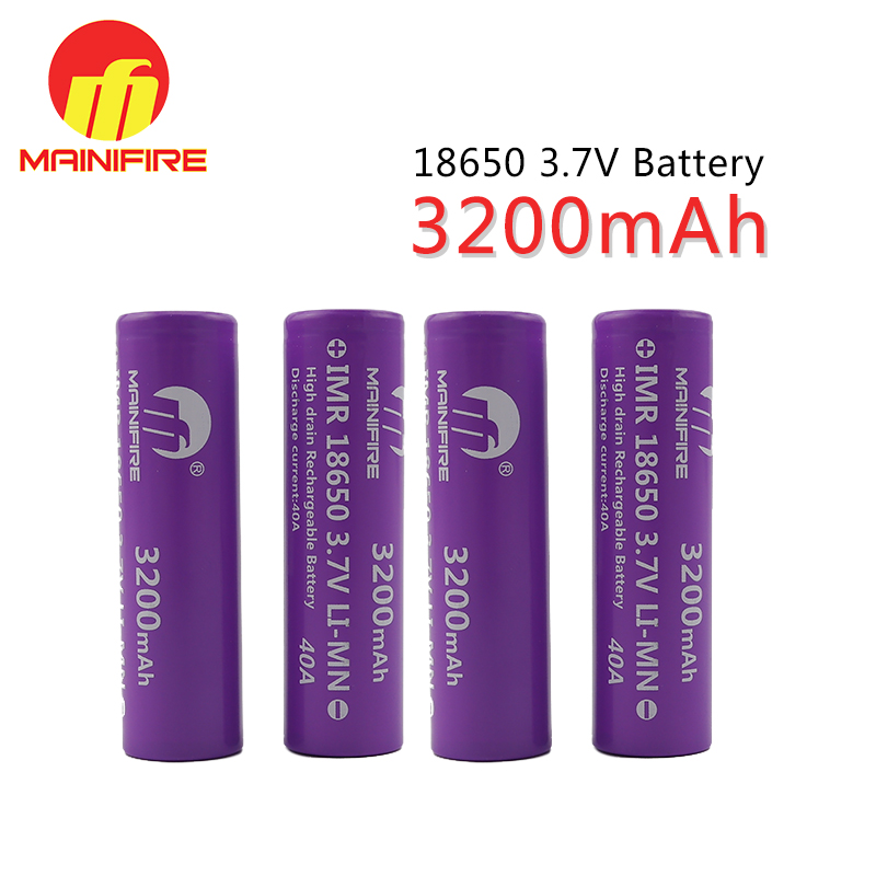 2018 Hot sell 3200mah 18650 battery mainifire 18650 40A 3200mah 3.7V li-ion rechargeable battery High drain for E-cig (4pcs/lot)