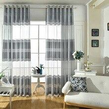 Γκρι Μοντέρνο απλό ύφασμα πολυεστέρα Striped Κουρτίνες κρεβατοκάμαρας για σαλόνι παράθυρο Tulle