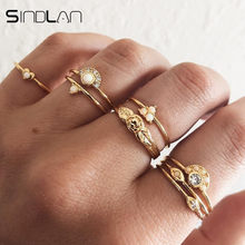 Sindlan 8PCs Retro Gold Rhinestone Rings for Women Heart Rose Charm Statement Rings Thick Finger Ring Set Stackable Rings Jewel(China)