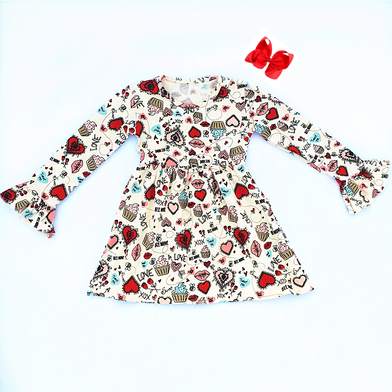 Valentine's Day Spring Baby Girls Dress Children Clothes Boutique Cotton Red Heart Arrow Mouth Print Ruffle Dress with Clip Bow матрас универсальный в коляску esspero baby cotton heart 108068284