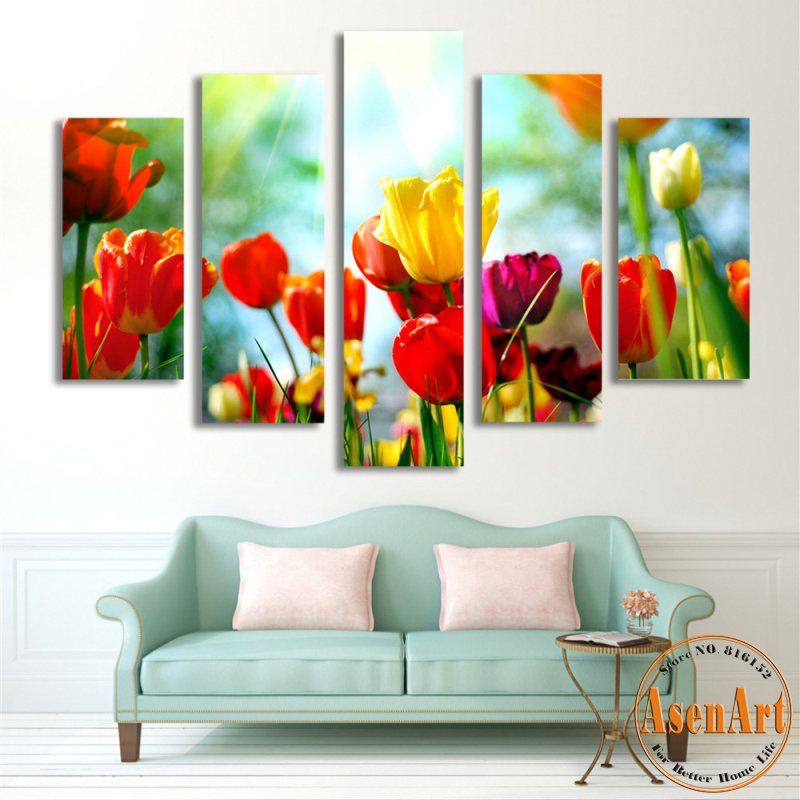 5 Panel Wall Art Tulips Painting Canvas Print Flower Wall