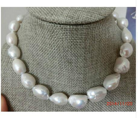 Women Gift Freshwater Jewelry Natural Baroque Pearl classic 12-13mm south sea white baroque pearl necklace