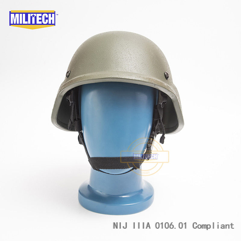 Militech OD Oliver Drab PASGT NIJ IIIA 3A Full Cut Ballistic Bulletproof Aramid Bullet Proof Helmet With Lab Testing Videos