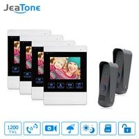 JeaTone Video Door Phone Wired 4 Dual Communication Doorbell Monitor IR Night Vision Camera Video Intercom
