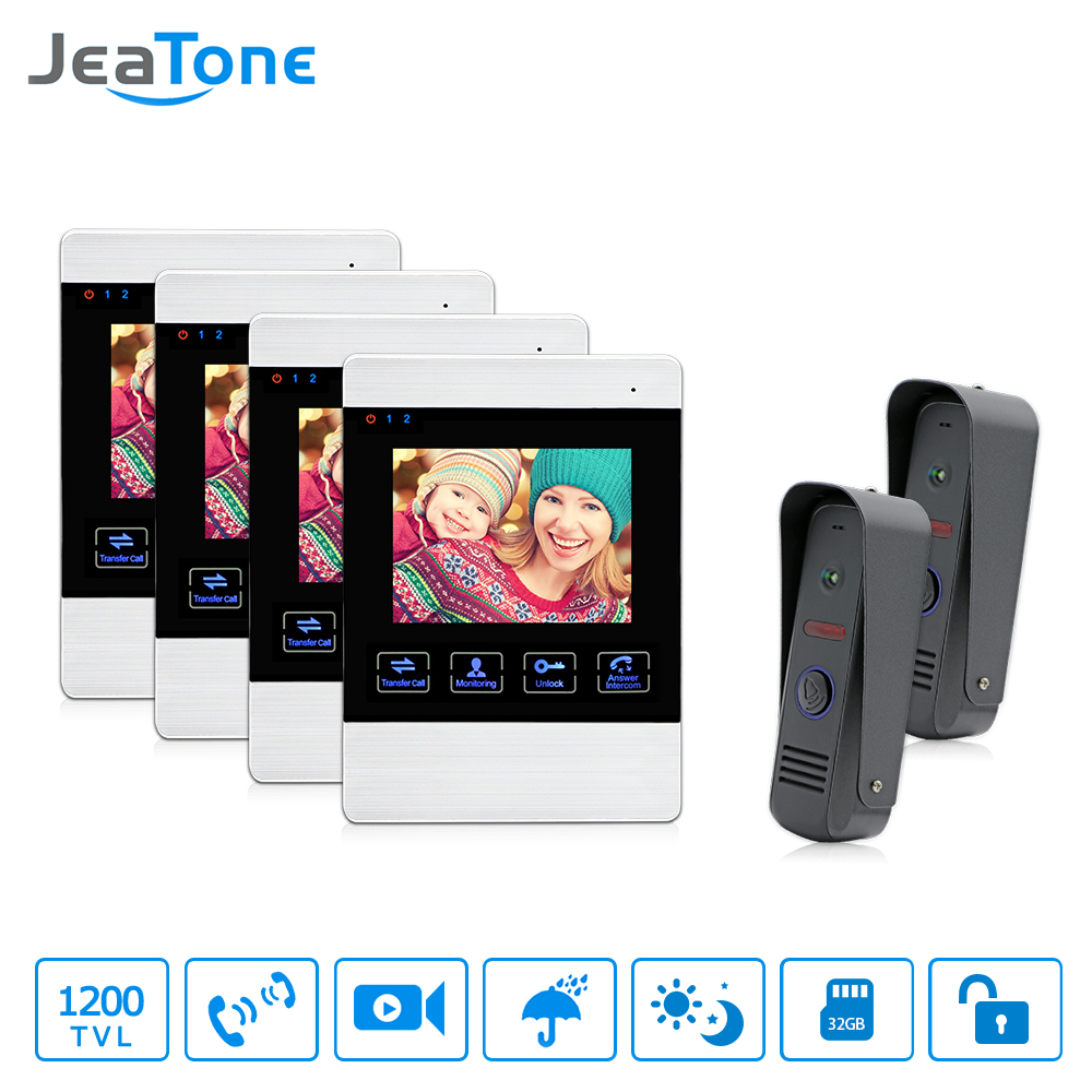 JeaTone Video Door Phone Wired 4 Dual Communication Doorbell Monitor IR Night Vision Camera Video Intercom Home Unit 1200TVL jeatone video phone home intercom audio doorbell 3 7mm pinhole cameras with 4 indoor monitor screen wired office intercom