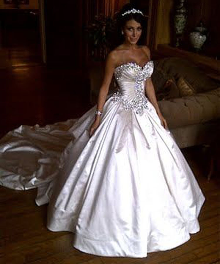 israel design new arrival sweetheart crystal ball gowns wedding dresses amazing royal train vestido de noiva