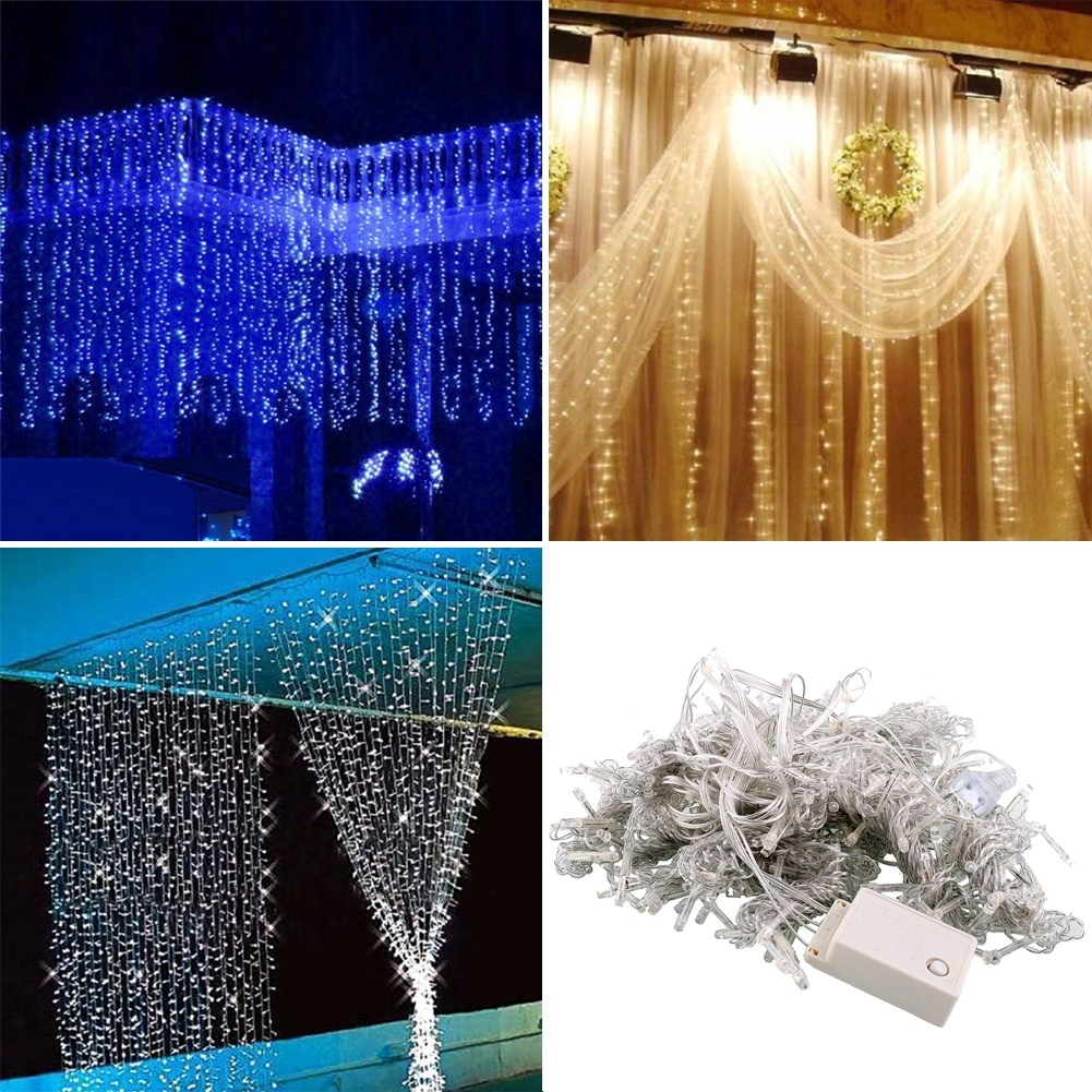 Ilmainen toimitus, 3 * 3m 300 LED-verho Happy New Year -valot Joulukoristeita Party Wedding Decoration Home Christmas Decorations.Q