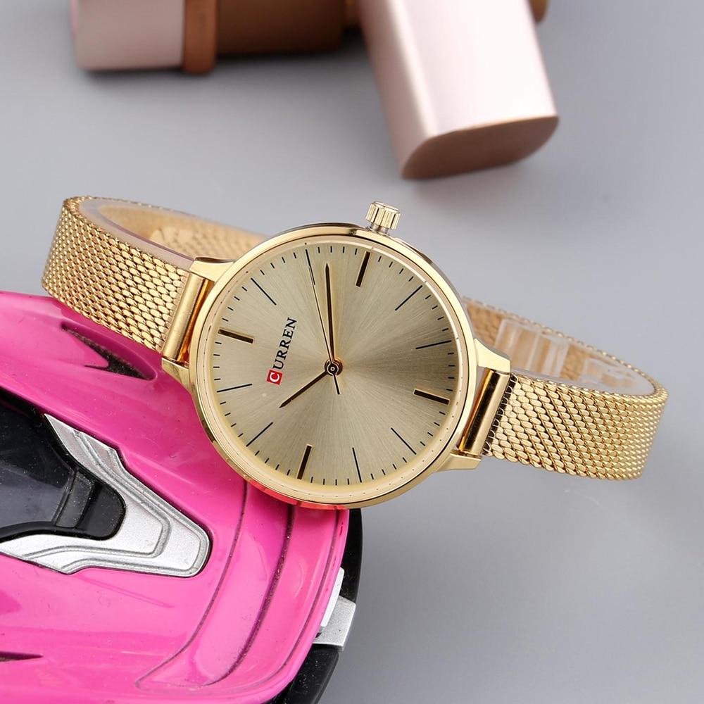 hot fashion quartz watch for women casual ladies watch free shipping waterproof elegant golden steel mesh band (39)